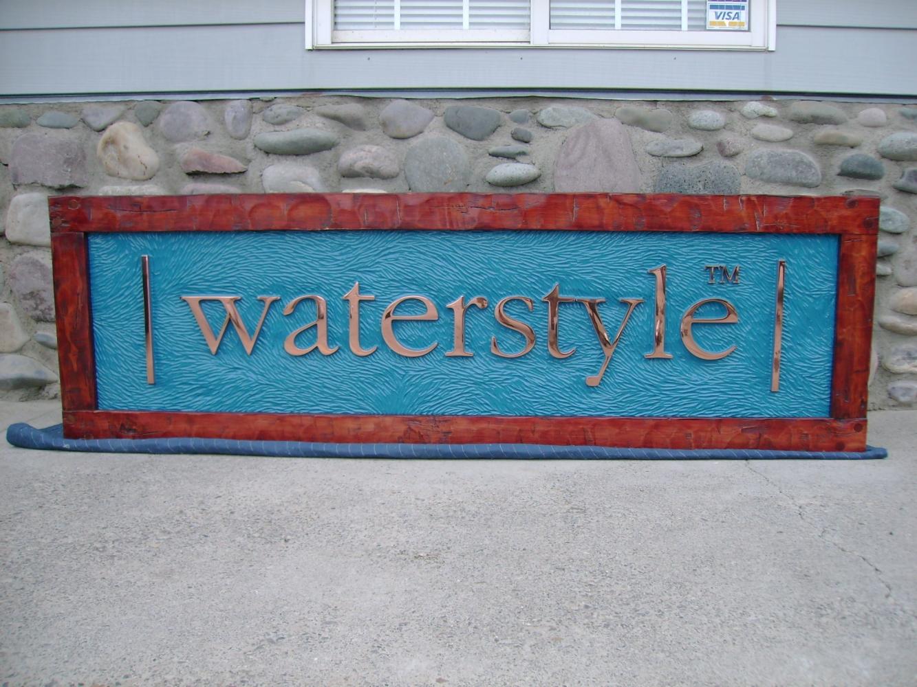 carved HDU, polished copper letters, wood frame
