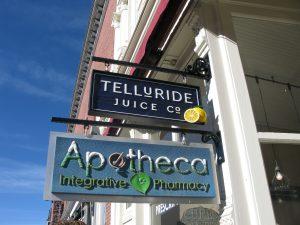 Telluride Juice: sandblasted wood, steel frame, hand carved lemon - Apotheca: sandblasted and carved HDU